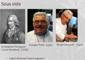 sous vide, Sir Benjamin Thompson (Count Rumford), Georges Pralus, Bruno Goussault,